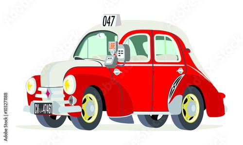 Photo Caricatura Renault 4CV taxi Túnez vista frontal y lateral