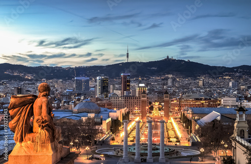 Barcelona at the blue hour, Spain Wallpaper Mural