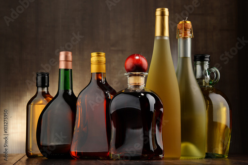 Photo  Bottles of assorted alcoholic beverages
