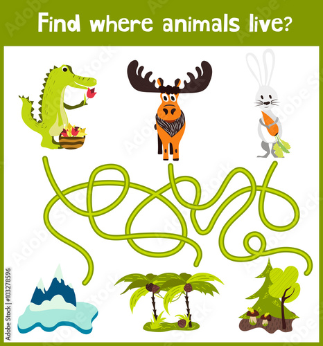 Staande foto Kinderkamer Fun and colorful puzzle game for children's development find where the elk, crocodile and white Bunny. Training mazes for preschool education. Vector