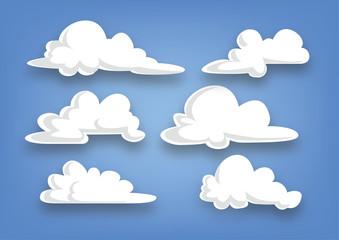 zbirka oblaka u stilu crtića, skup oblaka - ilustracija