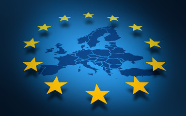 Fototapeta Mapy Union européenne Europe drapeau européen ou parlement européen 2020