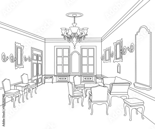 Interior living room outline sketch furniture blueprint interior living room outline sketch furniture blueprint architectural retro design malvernweather Images