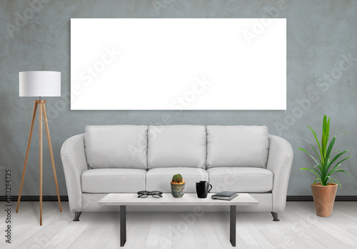 Isolated one wide wall art canvas. Sofa, lamp, plant and table in ...