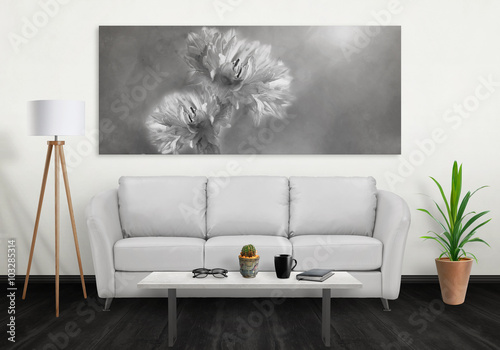 Flower on wide wall art canvas. Sofa, lamp, plant and table in room ...