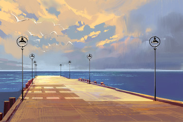 Fototapetabridge to the sea against beautiful sky,illustration painting