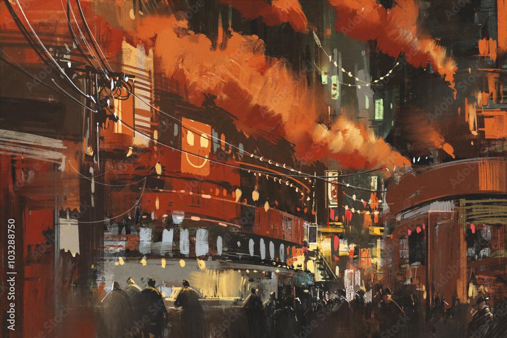 sci-fi scene showing cyberpunk cityscape,illustration