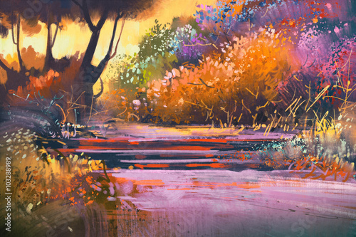 Foto op Aluminium Diepbruine landscape with colorful trees in forest,illustration painting