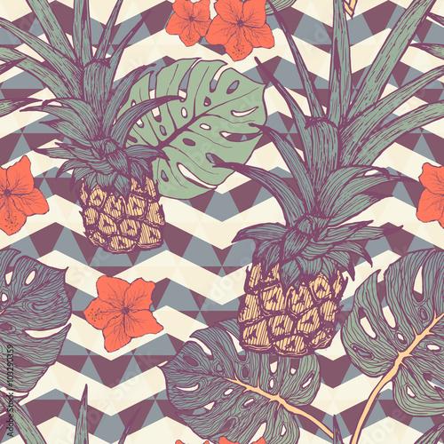 bezszwowy-wzor-z-ananasem-i-tropikalnymi-liscmi-w-wektorze