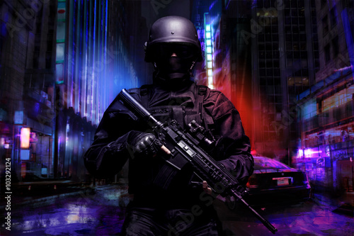 Fototapeta Spec ops police officer