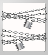 Set Of The Gray Metal Chain And Padlock, Handcuffed Card, Vector Illustration