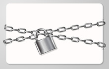 The Gray Metal Chain And Padlock, Handcuffed Card, Vector Illustration