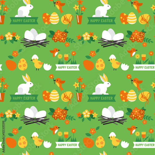 Cotton fabric Easter holiday background seamless pattern with easter bunny and