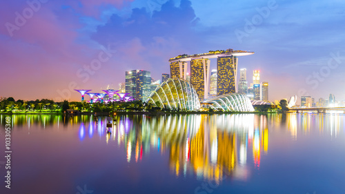 Spoed Foto op Canvas Singapore Panorama view of Singapore Skyline