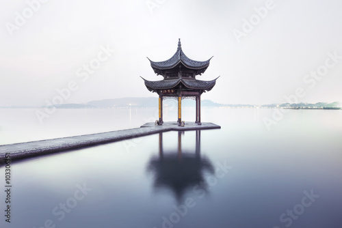 beautiful hangzhou and ancient pavilion