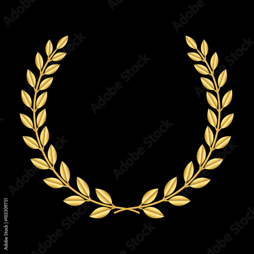 Fototapeta Gold laurel wreath. Symbol of victory and achievement. Design element for decoration of medal, award, coat of arms or anniversary logo. Golden leaf silhouette on black background. Vector illustration. obraz