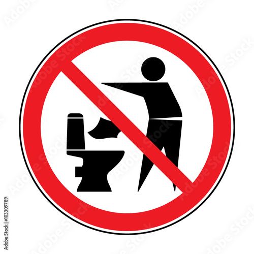 Do Not Litter In Toilet Icon Keep Clean Sign Silhouette Of A Man