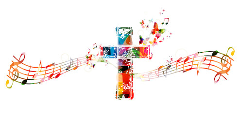 Colorful cross with music n...