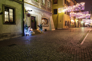 Fototapeta Miasto nocą Street in Old Town of Warsaw by Night