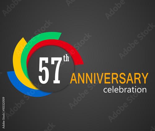 Fototapeta  57th Anniversary celebration background, 57years anniversary card illustration -