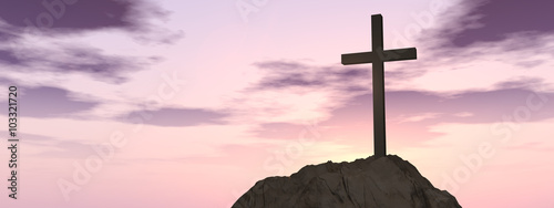 Stampa su Tela Conceptual cross religion symbol shape over sunset sky banner