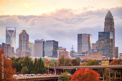 Obraz Skyline of downtown Charlotte in north carolina - fototapety do salonu