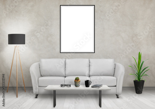 Foto op Aluminium Wand Isolated vertical art frame on white wall. Sofa, lamp, plant, glasses, book, coffee on table in room interior.