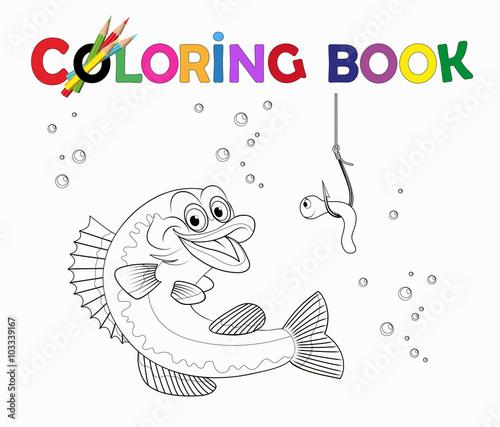 Ausmalbild Fisch Angeln Mit Wurm Vektor Illustration Isoliert Auf