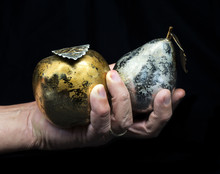 Hand With A Pear And Apple
