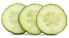 Cucumber Slices  Isolated On The White Background
