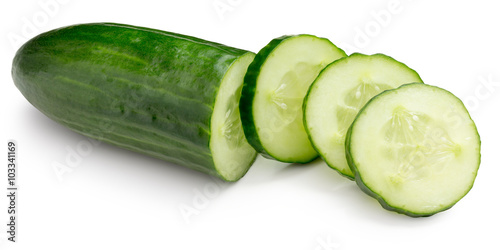 cucumber with slices isolated on the white background