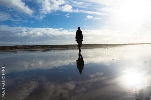 Obraz na plátně Woman running beach