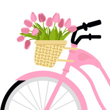 Vector Illustration With Bicycle And Tulips