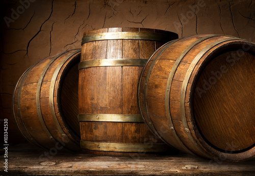 Fototapeta Wooden barrels in cellar