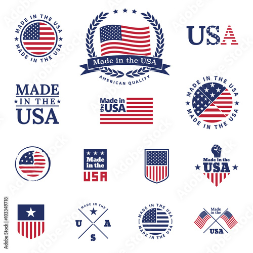 Made in the USA - signs and labels vector collection. Wall mural