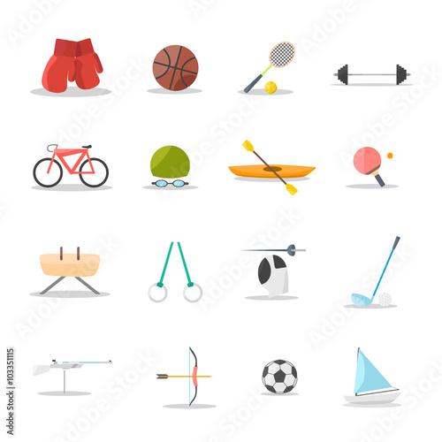 Fotografía  sports flat vector icon set