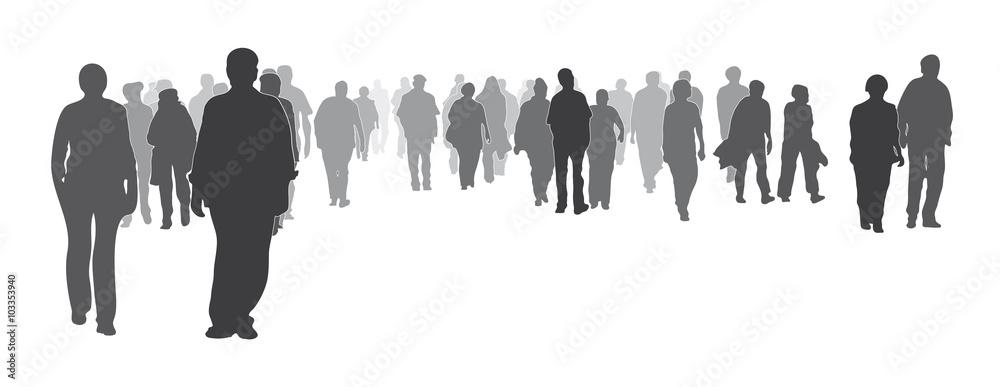 Fototapeta Silhouette, gemischte Menschengruppe frontal, Menschenmenge, große Gruppe geht vorwärts, Gemeinschaft, Zusammenhalt, Werte, anonym, Geschlossenheit, Stärke zeigen, Solidarität, Grundeinkommen