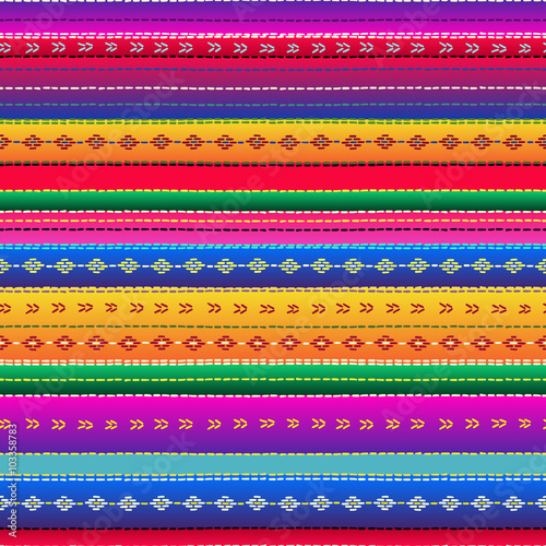 Fotografía  Seamless ethnic mexican fabric pattern with colorful stripes