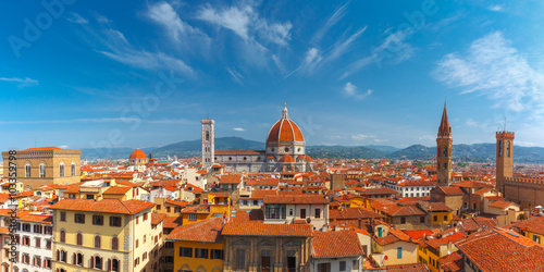 Aerial scenic panorama of Duomo Santa Maria Del Fiore, Badia Fiorentina and Bargello at morning from Palazzo Vecchio in Florence, Tuscany, Italy