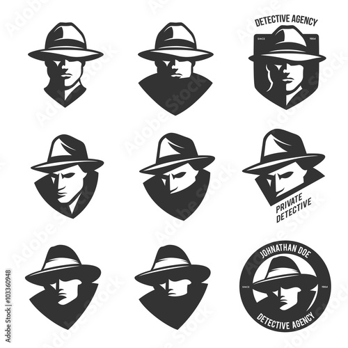 Fotografie, Obraz  Set of detective agency emblems with abstract men heads in hats