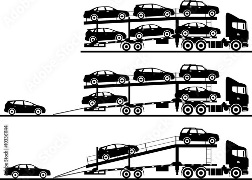 Carta da parati Set of silhouettes auto transporters isolated on white background in flat style in different positions