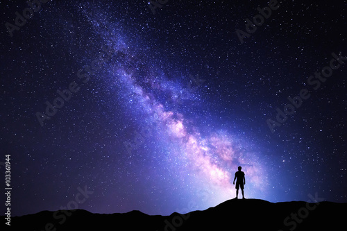Milky Way. Night sky and silhouette of a standing man Poster