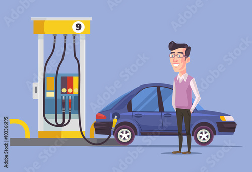 Photo  Gas station and man. Vector flat illustration