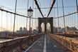 Brooklyn Bridge Pedestrian Walkway at Sunset