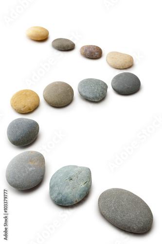 Pinturas sobre lienzo  Snaking Line of Twelve Pebbles Steps Isolated Vertical