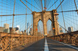 Brooklyn Bridge Pedestrian Walkway at Sunset
