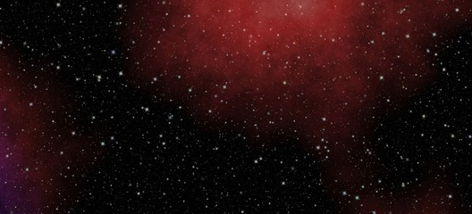 Panoramic looking into deep space. Dark night sky full of stars. The nebula in outer space