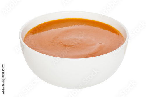Photo  Tomato Soup - Cream of Tomato Soup in a white china bowl, clipping path, front to back focus