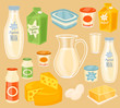 Dairy products. Raster icon of different dairy products. Milk, yogurt, kefir, butter, egg and cheese. Organic food, farmers food. Raster illustration in cartoon style.