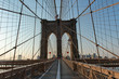 Iconic Brooklyn Bridge Path and Arches at Sunset